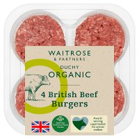 Duchy Originals from Waitrose 4 organic British beef burgers