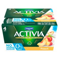 Activia fat free peach yogurts