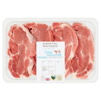 essential Waitrose 4 British Outdoor Bred pork shoulder steaks