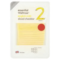 Essential Waitrose English mild Cheddar cheese, strength 2, 10 slices
