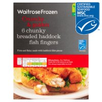Waitrose MSC frozen 6 line caught chunky breaded haddock fingers