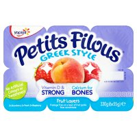 Petits Filous strawberry & peach Greek style fruit layers