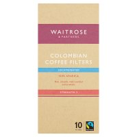 Waitrose 10 coffee filters Colombian decaffeinated blend