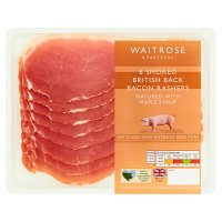 Waitrose smoked British back bacon matured with maple syrup, 6 rashers