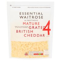 essential Waitrose English mature grated Cheddar cheese, strength 4