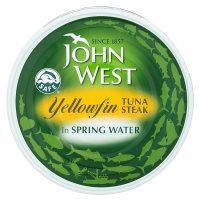 John West yellowfin tuna steak in spring water