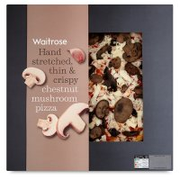 Waitrose hand stretched, thin & crispy chesnut mushroom pizza