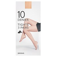 John Lewis 10 denier nude tights, pack of 3 (large)