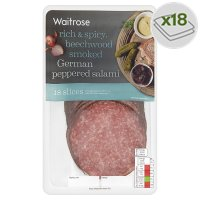Waitrose farm assured German pepper salami, 18 slices