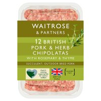 Waitrose 12 British pork & herb chipolatas