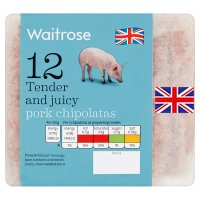 Waitrose 12 British premium pork chipolatas