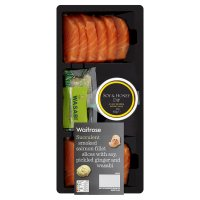 Waitrose smoked salmon fillet slices with soy, pickled ginger and wasabi