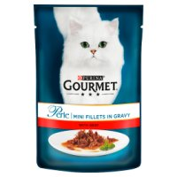 GOURMET Perle Adult Cat Mini Fillets in Gravy Beef Wet Cat Food Pouch