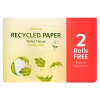 Waitrose recycled paper toilet tissue, white - pack of 4 rolls