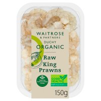 Waitrose organic raw, peeled Ecuadorian king prawn tails