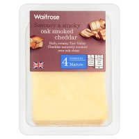 Waitrose oak smoked mature Cheddar cheese, strength 4