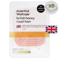 essential Waitrose British honey roast ham, 8 slices