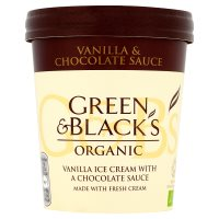 Green & Black's organic vanilla ice cream with a chocolate sauce