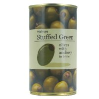 Waitrose, stuffed green olives with anchovy in brine