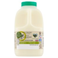 Waitrose Duchy Organic semi-skimmed milk un-homogenised