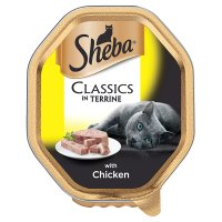 Sheba classics in terrine chicken foil tray cat food