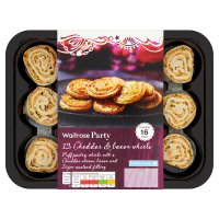 Waitrose Party 12 cheddar & bacon pastry whirls