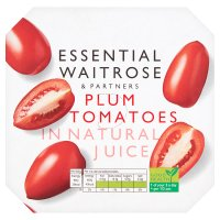 essential Waitrose plum tomatoes in natural juice, 4 pack