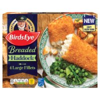 Birds Eye 4 breaded large haddock fillets frozen