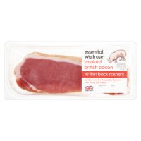 essential Waitrose smoked British thin cut back bacon, 10 rashers