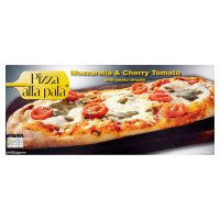 Pizza alla pala mozzarella & cherry tomato with pesto