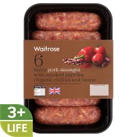Waitrose 6 British pork sausages with Mexican chipotle chilli & beans