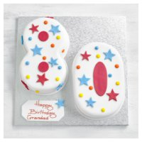 80th Birthday stars and dots cake