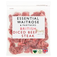 essential Waitrose British beef diced steak