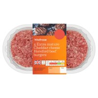 Waitrose 4 Cheddar cheese beef burgers