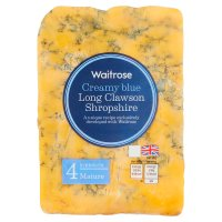 Waitrose creamy blue Long Clawson mature Shropshire cheese, strength 4