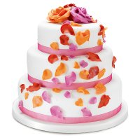Fiona Cairns Flame Rose Petal 3-tier Wedding Cake (Sponge)