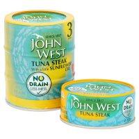 John West No Drain tuna steak with sunflower oil, 3 pack.