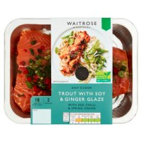Waitrose Easy To Cook trout with soy, chilli & ginger glaze