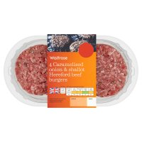 Waitrose 4 caramelised onion & shallot beef burgers