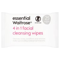 essential Waitrose 3 in 1 facial cleansing wipes