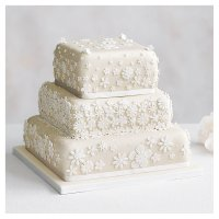 Blossom 3 Tier Ivory Wedding Cake, Fruit (Base tier) & Golden Sponge (Middle) & Chocolate Salted Caramel (top tier)
