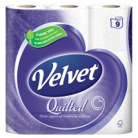 Velvet quilted toilet tissue white