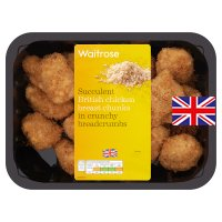 Waitrose British crunchy breaded chicken breast chunks