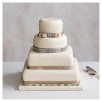 Diamante 4 Tier Ivory Wedding Cake  (Fruit Golden and chocolate sponge)