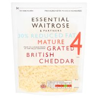 essential Waitrose lighter mature grated cheese, strength 4