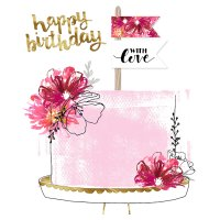 Floral Cake Happy Birthday Card