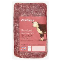 Waitrose Hereford Beef Mince 10% Fat
