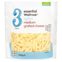 essential Waitrose lighter medium grated Cheddar cheese, strength 3