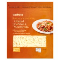 Waitrose grated mild Cheddar & mozzarella strength 2