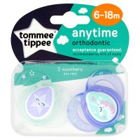 Tommee Tippee 6-18month anytime girl soother, pack of 2, assorted